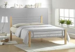amber silver & beech metal framed bed